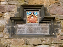 Upon entry to the castle, this memorial was set into the castle walls for Sir William Kirkcaldy of Grange.