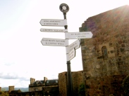 Sign post directing guests within the castle walls