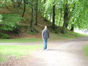 Tyler walking toward Dunkeld Cathedral