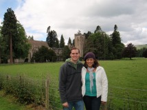 Tyler and I outside Dunkeld Cathedral