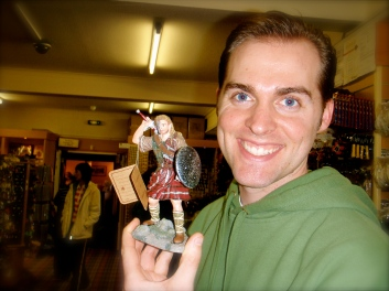 Tyler with a knickknack of William Wallace