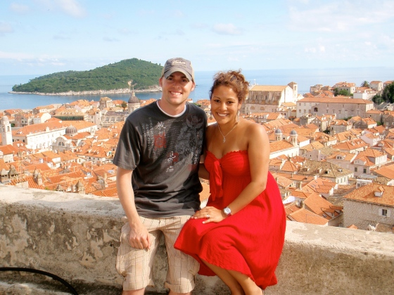 Tyler and I sitting on the wall that surrounds the city of Dubrovnik, Croatia