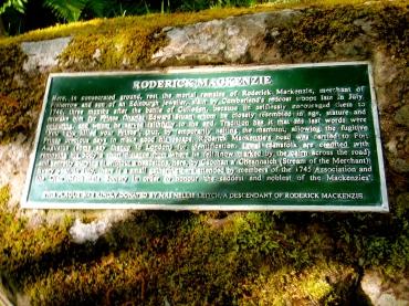 Plaque where Roderick Mackenzie was killed.