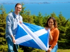 Tyler and I with the Scottish flag