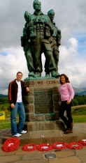 Tyler and I standing next to The Memorial Statue dedicated to the British Commando Forces who fell in World War II