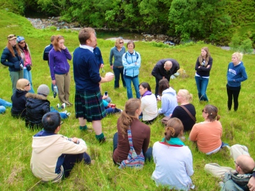 Our tour guide telling a Scottish fairy tail