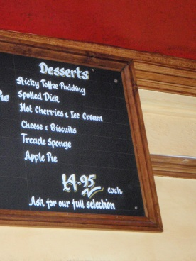 Dessert menu options