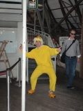 This guy coming down in his chicken suit!