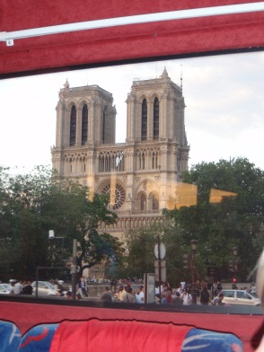 Cathédrale Notre Dame de Paris from our bus!