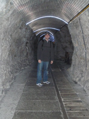 Tyler in a tunnel of cool rock