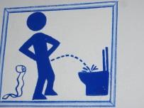 Men toilet sign - Look no hands