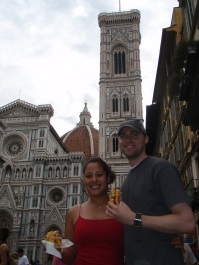 Piazza del Duomo and our waffles!
