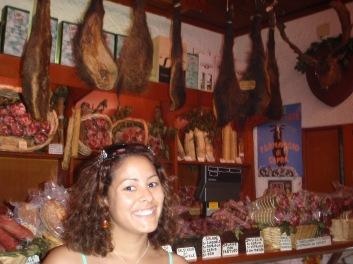 Inside the butcher shop. Boar hind quarters behind me I think.