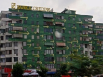 Colorful building of Tirana