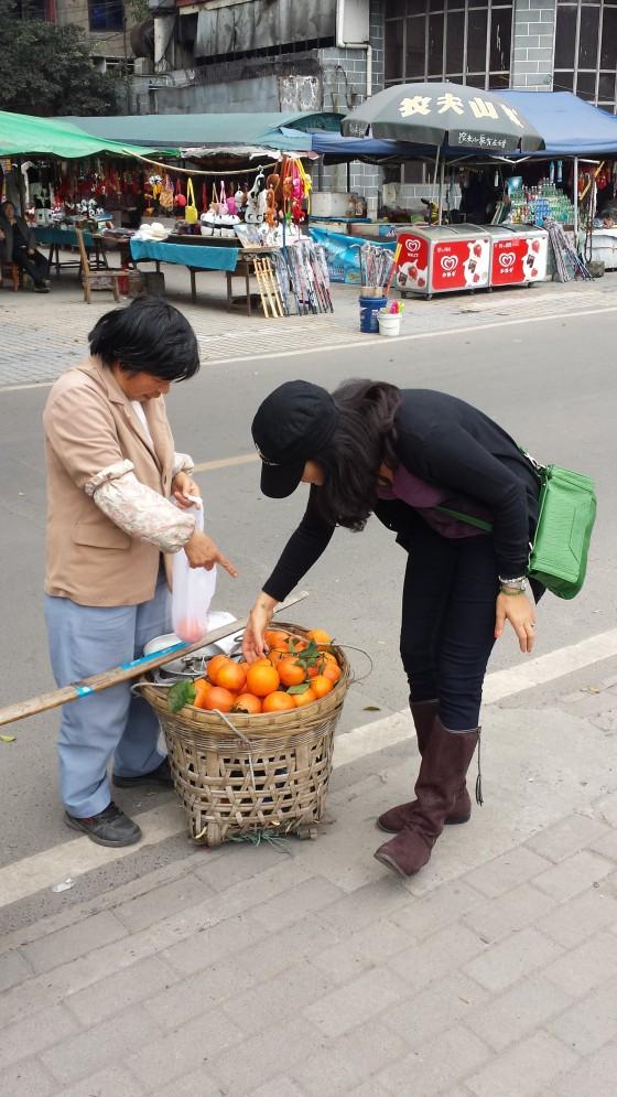 Mrs. Jessetter doing some shopping in Leshan