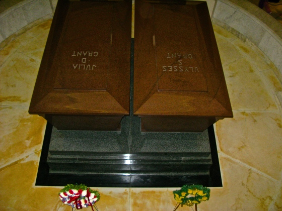 Sarcophagi of Ulysses and Julia Grant. Made of red granite.