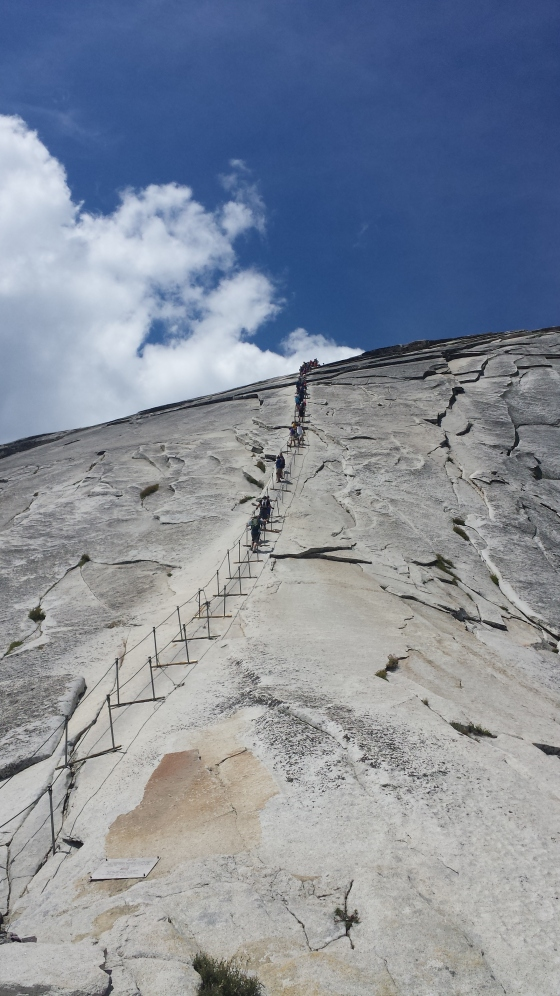 First view of Half Dome cables. Get there early to avoid crowds.