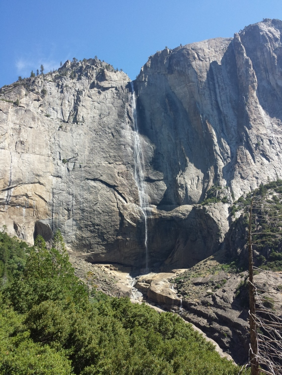First glimpse of Yosemite Falls from the trail