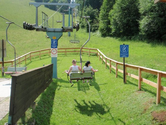 Some friends heading up the ski lift