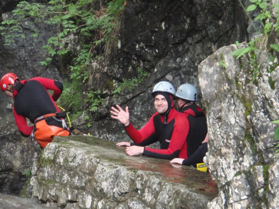Waiting for my turn to abseil