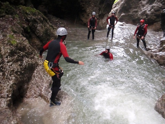 Mrs. Jessetter jumping into the final pool near the end of the canyon