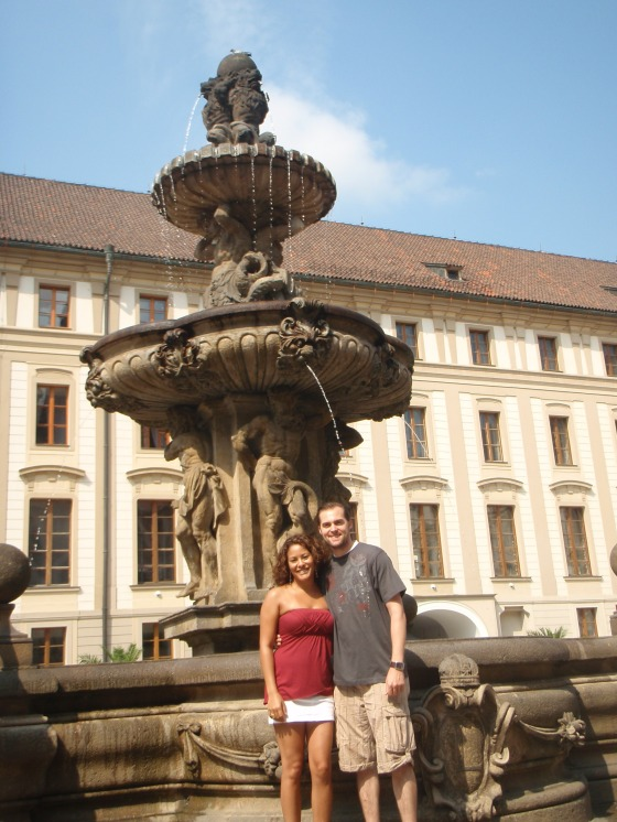 Fountain outside Prague Castle