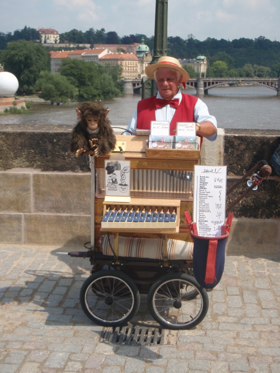 One of the many vendors on Charles Bridge
