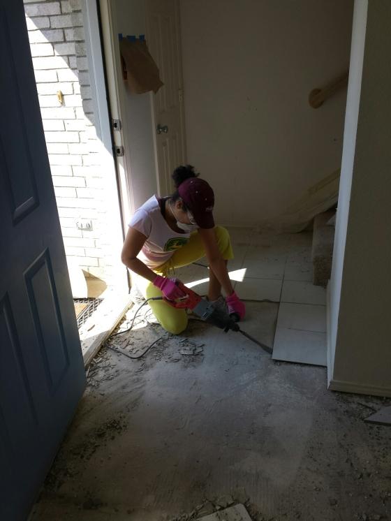 Removing tile in front entrance