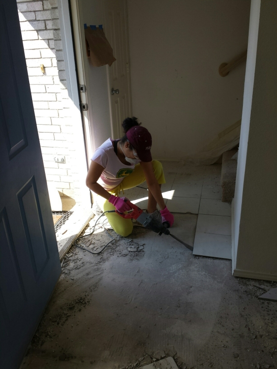 Removing tile in front entrance