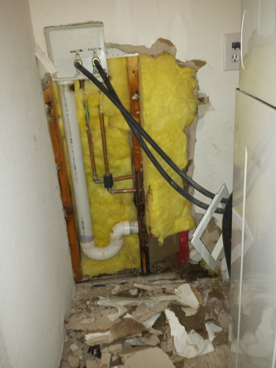 Had a leak in the drywall behind the washer/dryer.