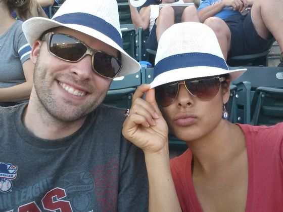 One of the many Rangers games we attended. It was free fedora day!