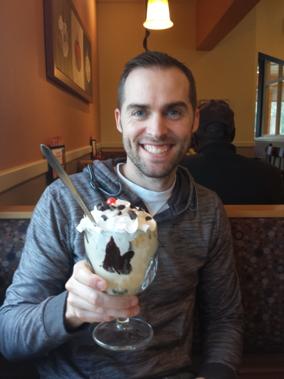 Stopped at IHOP for Mr. Jessetter's birthday pancakes and sundae!
