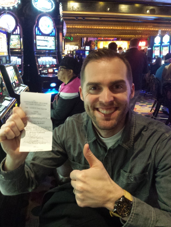 Tyler won a free buffet with his birthday free spin at the casino.