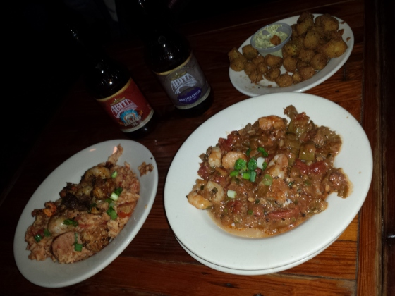 Enjoying jambalaya, gumbo and fried okra.
