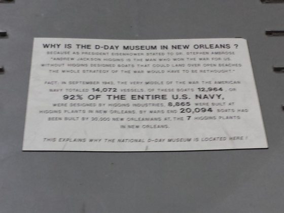 This explains why the WWII museum is in NOLA!