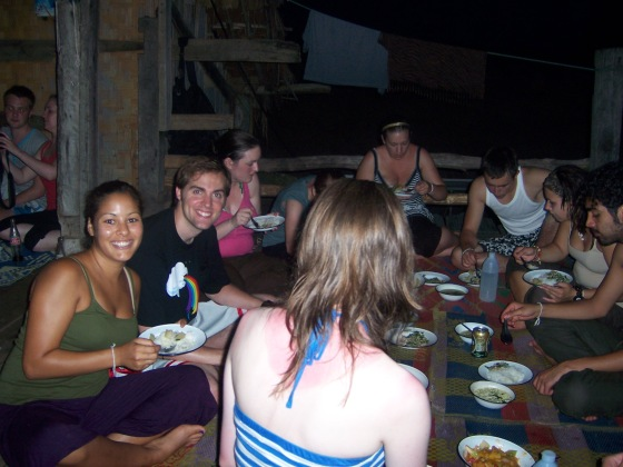 Eating our Thai dinner!