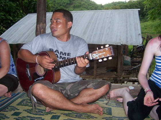 Our tour guide, Sit, sang us a Thai song before dinner.
